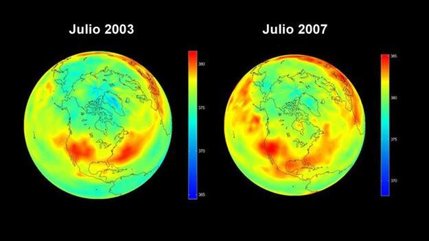 Distribución del dióxido de carbono en la tierra. Imágenes del AIRS, instrumento a bordo de la nave espacial de la NASA, Aqua.