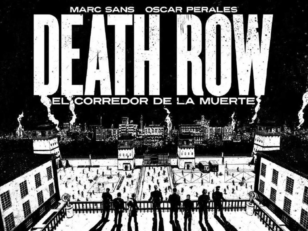 Doble página de 'Death Row' que simula los títulos de crédito de una película