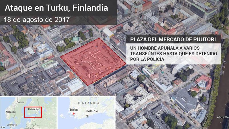 Dos muertos y siete heridos en un apuñalamiento en Finlandia