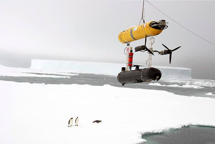 """El dron SeaBED (""""Jaguar"""") bajo el mar de hielo"""