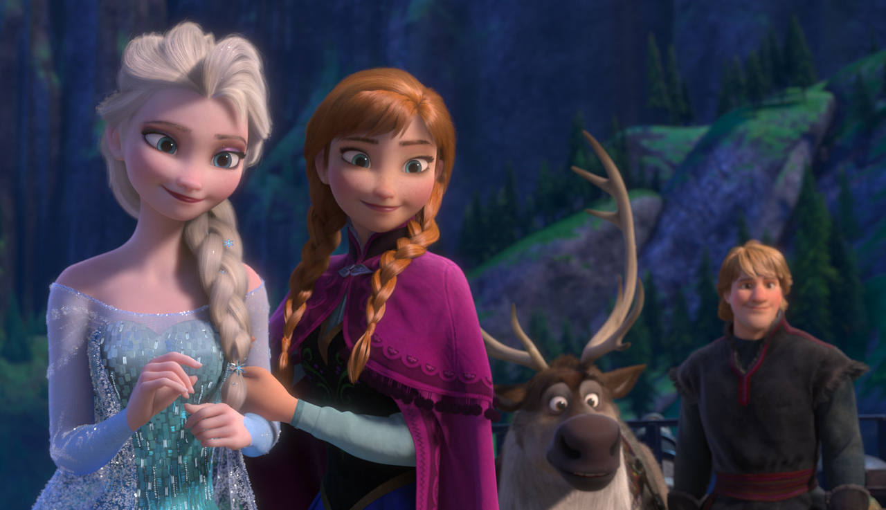 Elsa, Anna, Sven y Kristoff, protagonistas de 'Frozen'