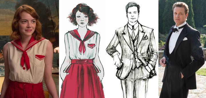 """Emma Stone y Colin Firth en """"Magia a la luz de la luna"""" junto a los bocetos de vestuario"""