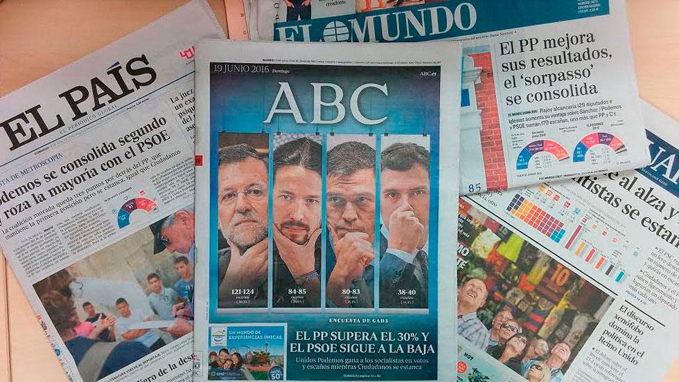 Las encuestas apuntan a que ganará el PP y se producirá el 'sorpasso' de Unidos Podemos al PSOE