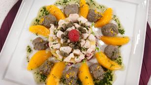 Saber cocinar - Ensalada de ave con naranja y paté de aceitunas
