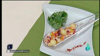 A punto con La 2 - Cocina a punto - Ensalada de pulpo y compota de plátano al romero
