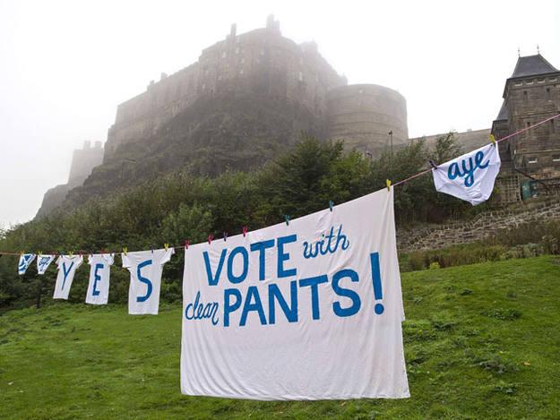 Eslóganes por la independencia de Escocia en la colada