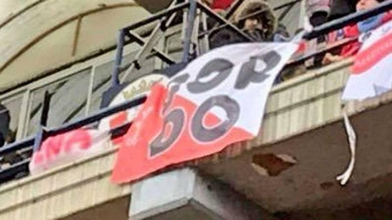 Esta es la pancarta que se pudo ver en El Sadar durante el Osasuna - Sevilla.