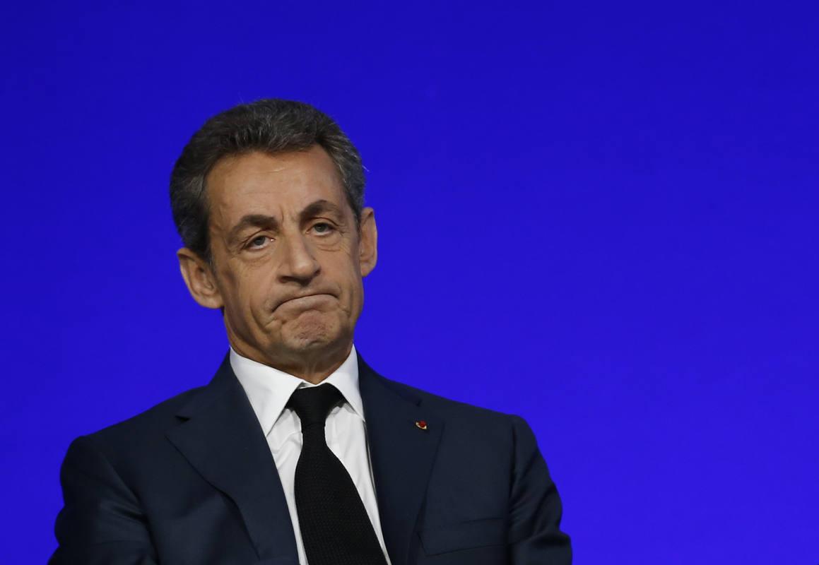 El expresidente francés Nicolas Sarkozy, durante un acto de su partido en París este mes de febrero
