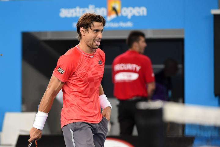 Ferrer durante su partido contra el francés Gilles Simon