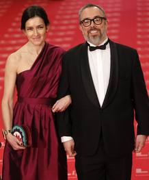 Spanish director and President of the Spanish Film Academy de la Iglesia and Spain's Culture Minister Gonzalez-Sinde pose at Madrid's Royal Theatre