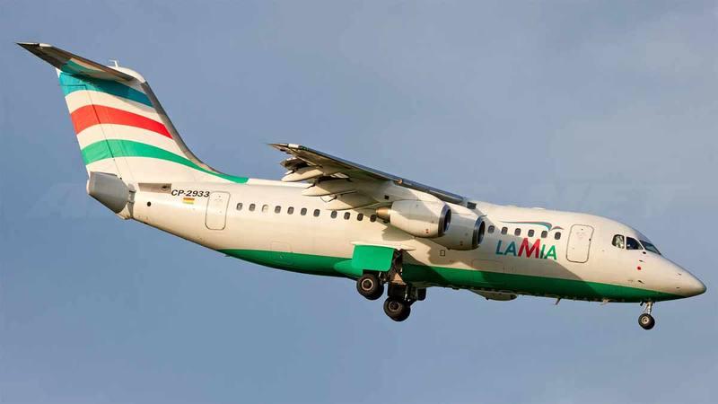 Fotografía de archivo del avión siniestrado: un British Aerospace Avro 146-RJ85 de la compañía Lamia Bolivia. AIRLINERS.NET
