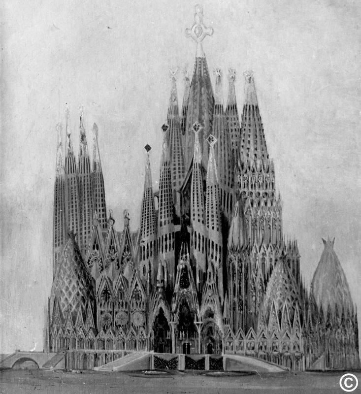 Fotografía inédita de un dibujo del proyecto de la Sagrada Familia.