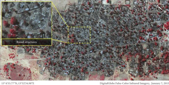 Fotografía de satélite de DigitalGlobe tomada el 7 de enero de 2015 y facilitada por Amnistía Internacional hoy, jueves 15 de enero de 2015, que muestra la destrucción de la localidad de Baga en Nigeria tras el ataque de Boko Haram