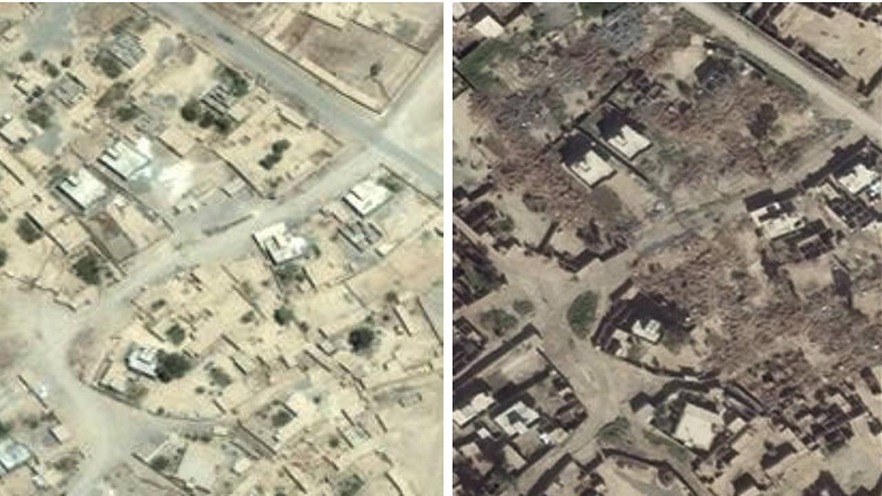 Fotografía por satélite, distribuida por Amnistía Internacional, que supuestamente muestra la destrucción de casas en la aldea iraquí de Jumeili tras el paso de los milicianos kurdos