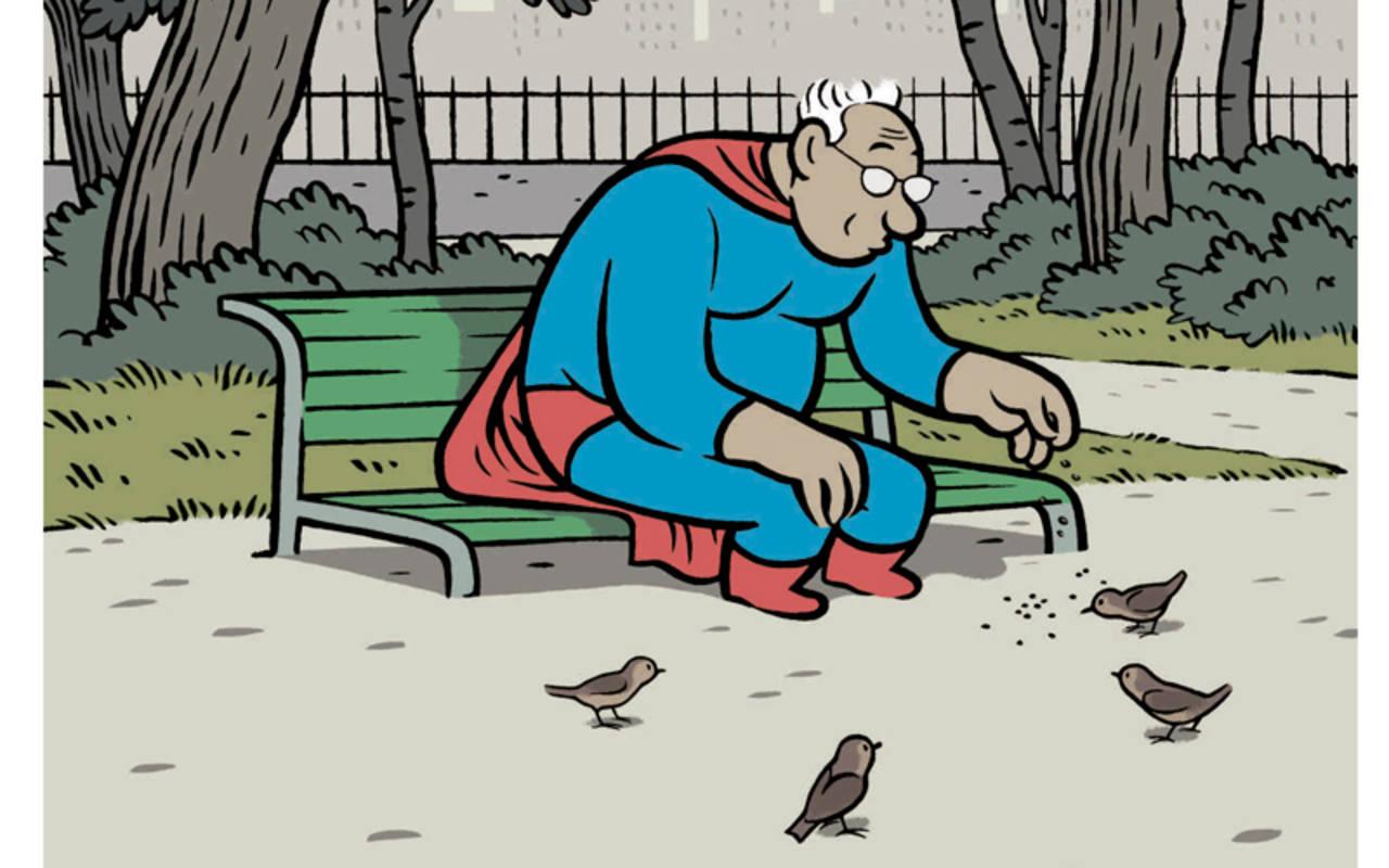 Fragmento de 'Superhéroe pensionista'. Viñeta para Babelia (El País), 2013