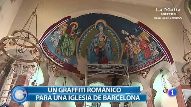 """Más Gente - Un graffiti """"románico"""" en una iglesia de Hospitalet"""