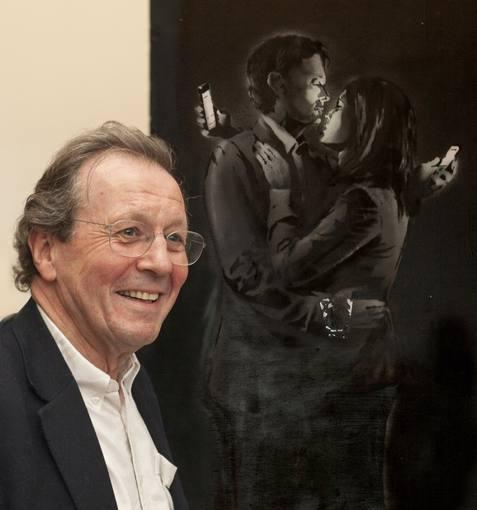 """El grafiti """"Los amantes del móvil"""" de Banksy"""