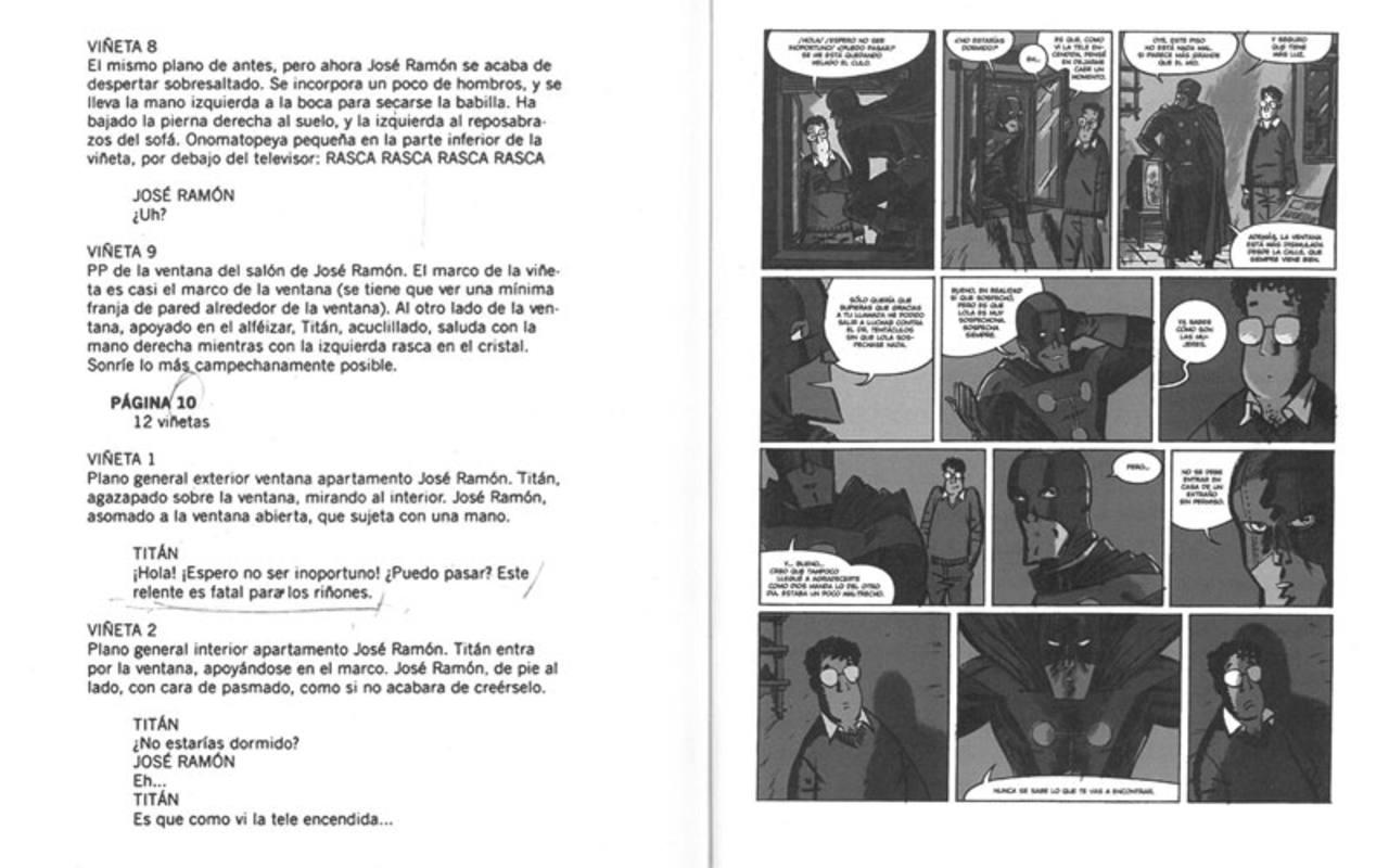 Guión y página final de 'El Vecino 1' (Astiberri), de Santiago García y Pepo Pérez