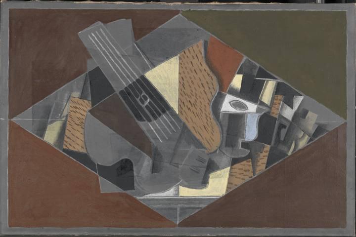 'Guitarra y vaso (Guitare et verre), (1917). Georges Braque. Kröller-Müller Museum, Otterlo.