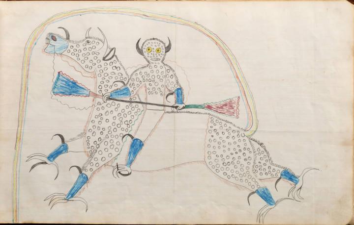 """Halcón Negro (1832-1889), """"Sueño o visión de si mismo transformado en Destructor o cabalgando un águila búfalo (1880-1881)"""