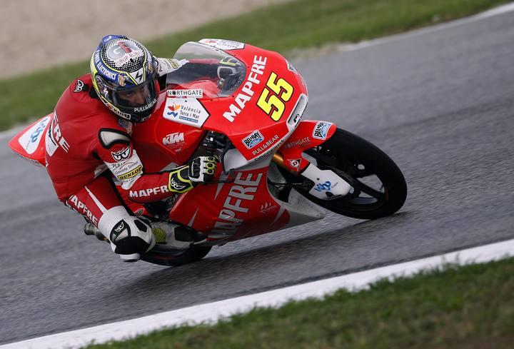 Héctor Faubel rodando con la Kalex KTM en los entrenamientos de Moto3 en Misano
