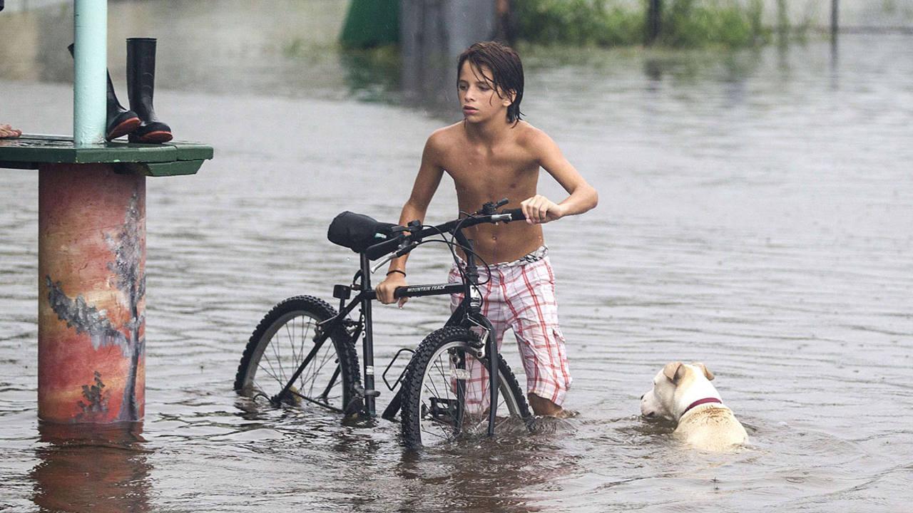 Un joven y su perro en Saint Marks, Florida, por donde ha entrado el huracán
