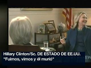 """Hillary Clinton celebra entre risas la muerte de Gadafi: """"Fuimos, vimos y él murió"""""""