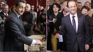 Hollande y Sarkozy votan en Francia