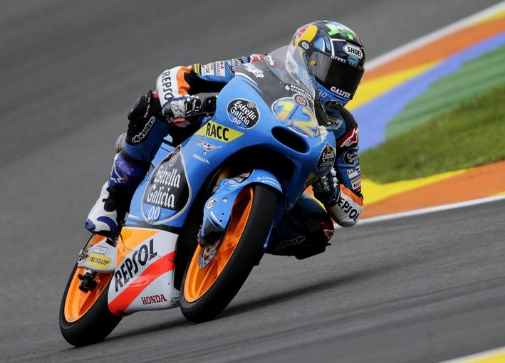 Honda Moto3 rider Alex Marquez of Spain races during the third free practice session ahead of the Valencia Motorcycle Grand Prix at the Ricardo Tormo racetrack in Cheste
