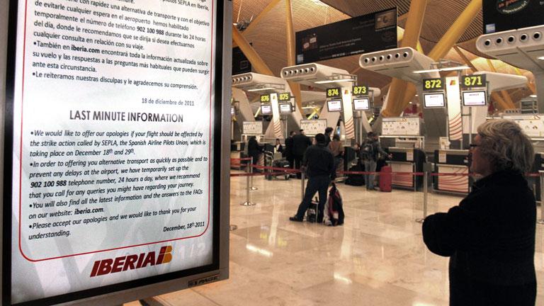 Primer día de huelga de Iberia, con 91 vuelos cancelados