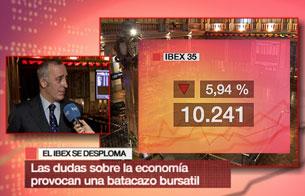 La Bolsa española vive su mayor caída en catorce meses al perder un 5,94%