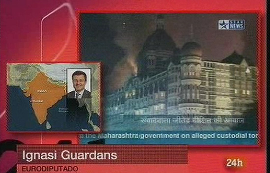 Noche 24 - El Eurodiputado Ignasi Guardans ileso tras los atentados de Bombay