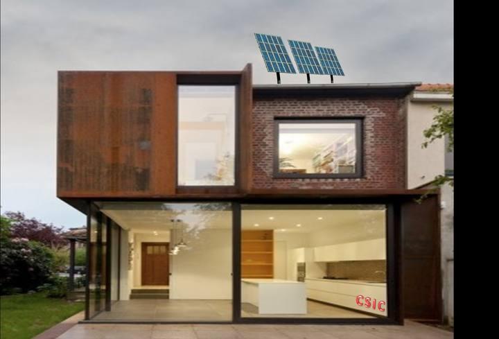 Ilustración de una casa con las ventanas inteligentes ideadas por el CSIC.