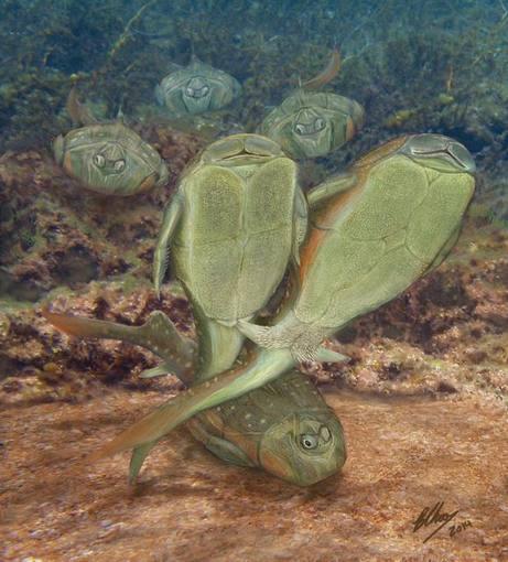 Ilustración de los peces placodermos practicando sexo.