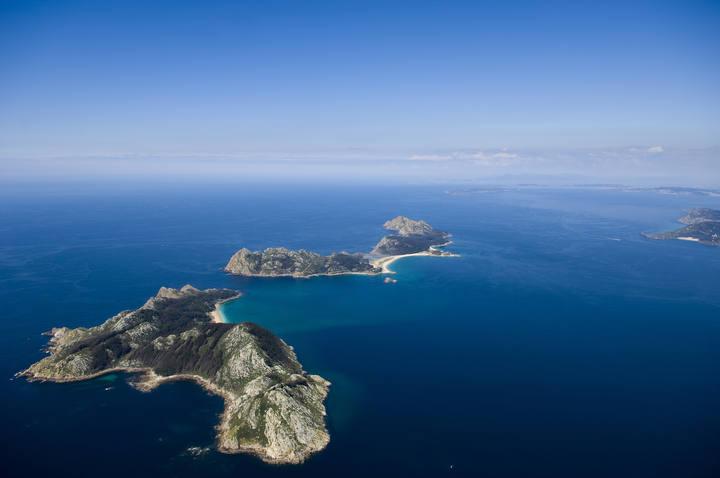 Imagen aérea de las Islas Cíes, el parque nacional ubicado en Galicia.
