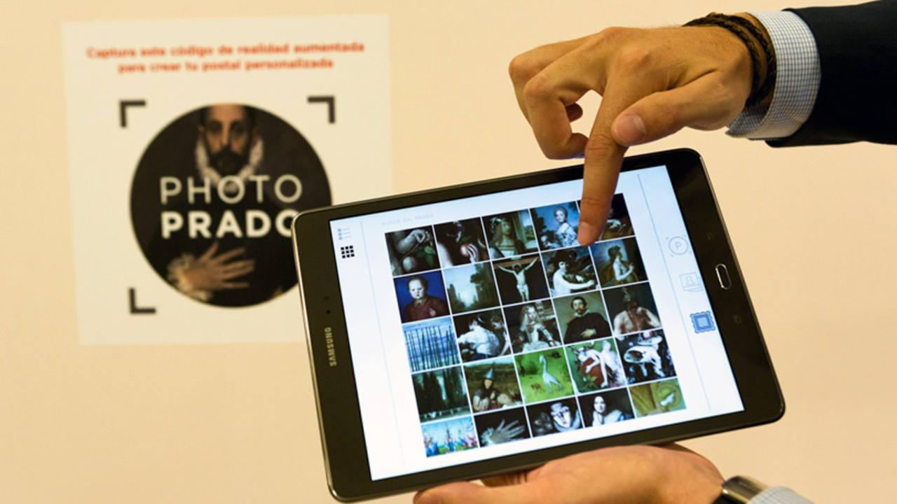 Imagen de la aplicación Photo Prado en una tableta. Museo del Prado
