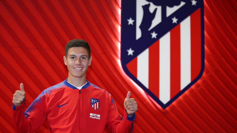 Imagen de la bienvenida a Nehuén Pérez en la web del Atlético de Madrid