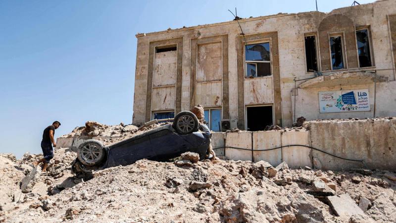 Una imagen de la ciudad deUrum al-Kubra tras sufrir un bombardeo