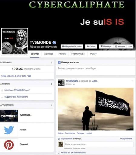 Imagen de la cuenta oficial en Facebook del canal internacional francés TV5 Monde, que ha sido pirateado a gran escala por hackers yihadistas supuestamente pertenecientes a la organización Estado Islámico (EI).