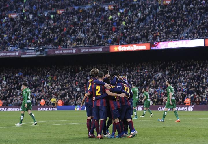 Imagen del pasado Barcelona - Levante con la grada del Camp Nou de fondo