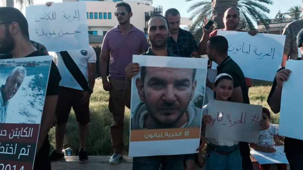 Imagen de la manifestación a favor de la liberación de varios secuestrados en Libia.