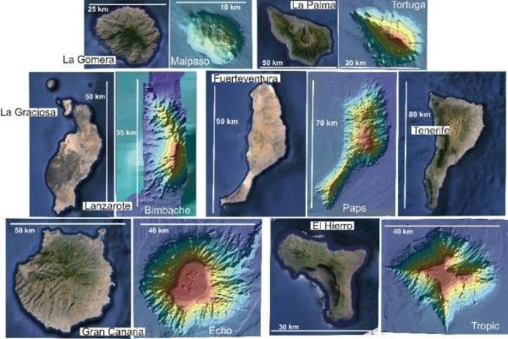 Imagen de los ocho nuevos montes submarinos en Canarias.