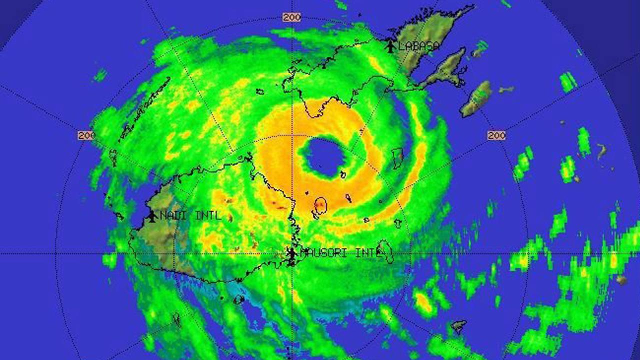 Imagen por satélite del ciclón Winston sobre el archipiélago Fiji, tomada el 20 de febrero