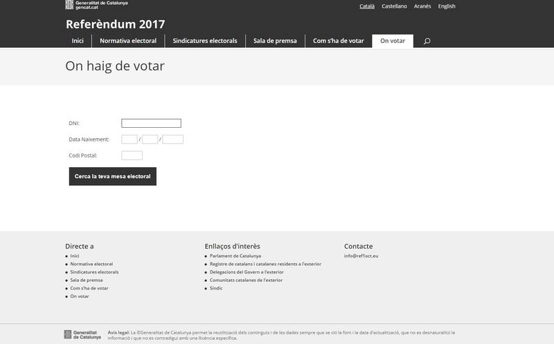 Imagen de la web que ofrece el listado de locales para votar el 1-O