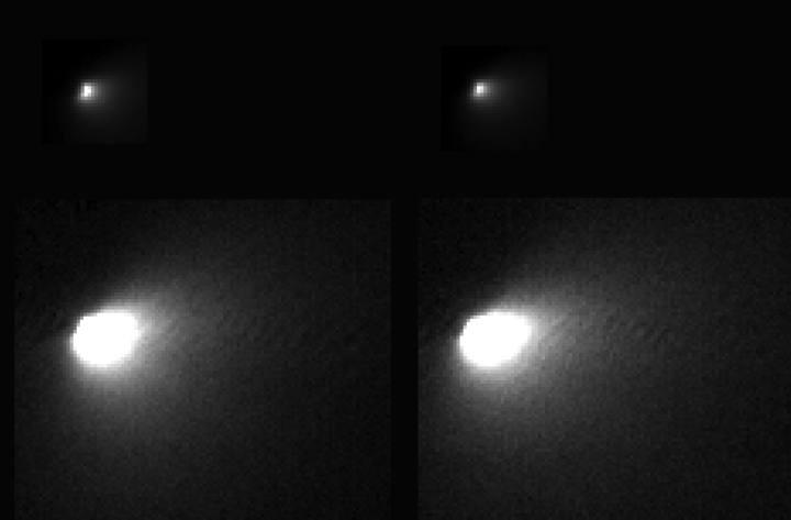 Imágenes tomadas por la sonda Mars Reconnaissance Orbiter de la NASA del cometa Siding Spring.