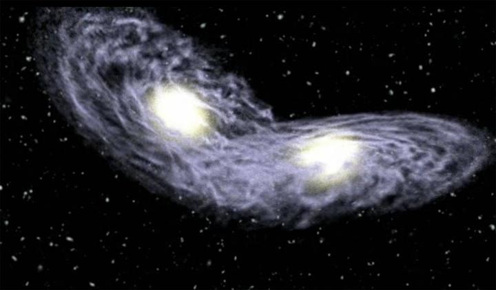 Impresión artística que muestra la fusión entre dos galaxias.