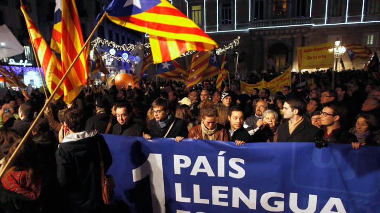 Manifestación por la enseñanza en catalán y en contra de la reforma de Wert
