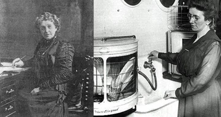 La inventora (izq.) y mujer probando uno de los primeros lavavajillas (drcha.)