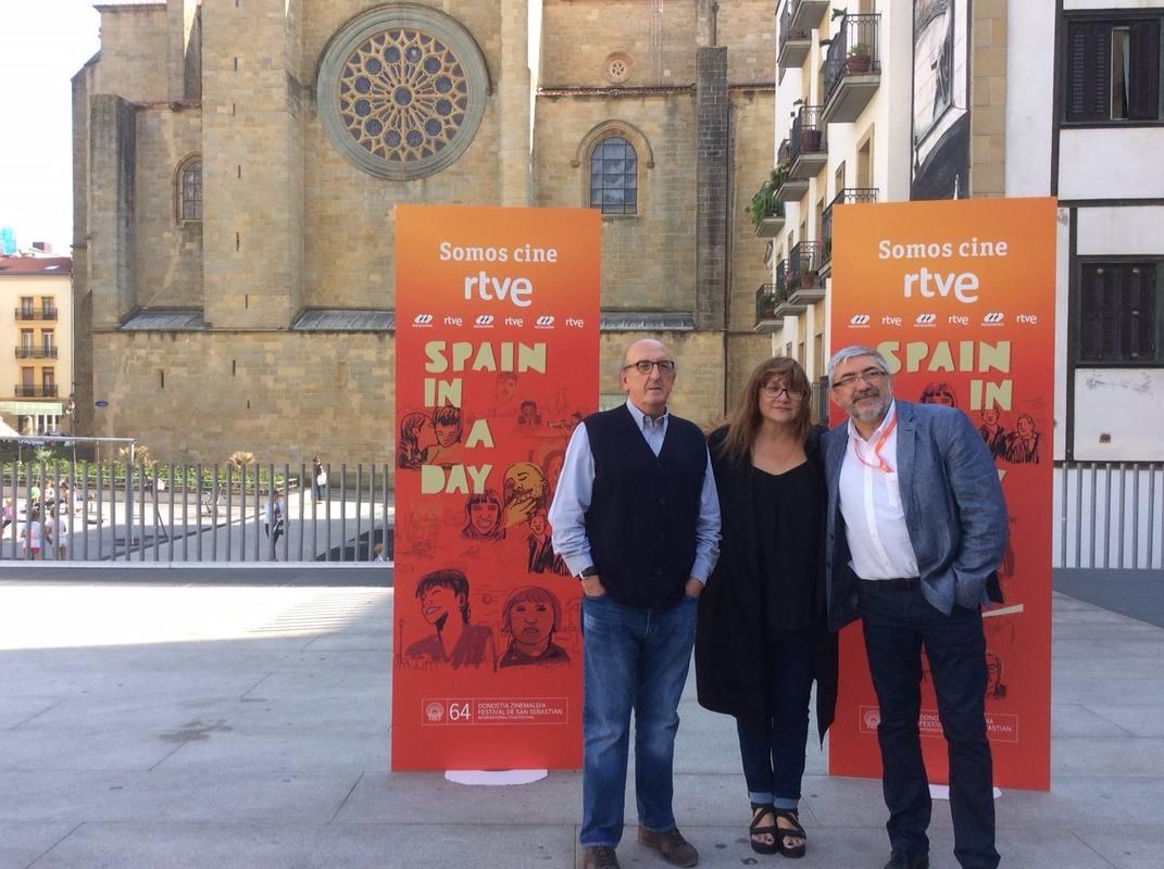 Jaume Roures, Isabel Coixet y Fernando López Puig, en la presentación en San Sebastián