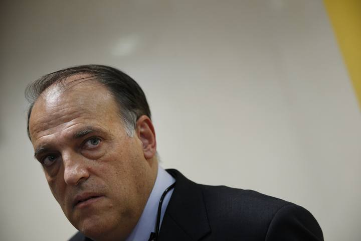 Javier Tebas, President of the Spanish Football Federation, arrives for a news conference after taking part in a government anti-violence commission meeting in Madrid